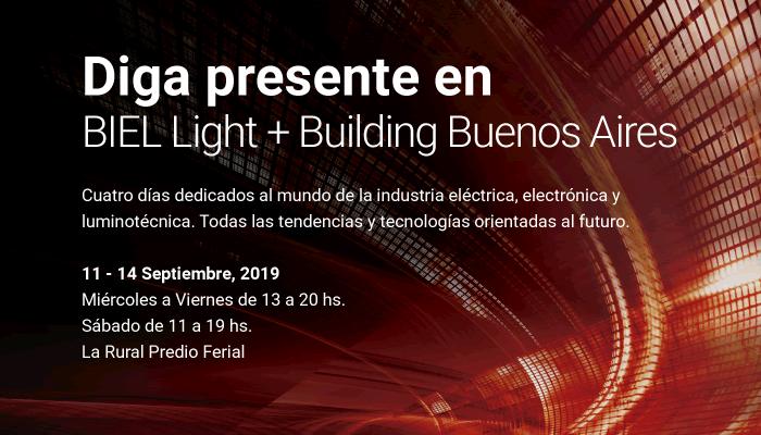Diga presente en BIEL Light + Building Buenos Aires. Cuatro días dedicados al mundo de la industria eléctrica, electrónica y luminotécnica. Todas las tendencias y tecnologías orientadas al futuro. 11 - 14 Septiembre, 2019. Miércoles a Viernes de 13 a 20 hs. / Sábado de 11 a 19 hs. La Rural Predio Ferial